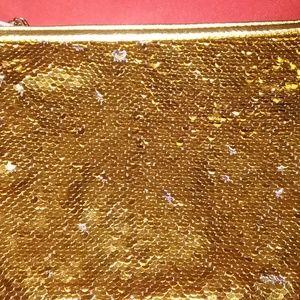 SQUIN  GOLD-SILVER HAND BAG MAKEUP, PARTY, EVENIN